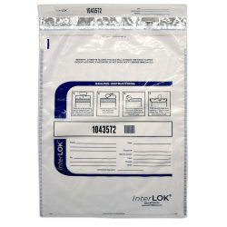 """InterLOK Tamper Evident Security Bags, 15"""" x 20"""", Clear, Pack Of 250"""