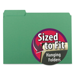 Smead® Interior Folders, Letter Size, Green, Box Of 100