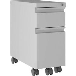 "Lorell® Slim 20""D Vertical 1-Drawer Hanging Letter-Size Mobile Compact Pedestal Cabinet, Metal, Silver"