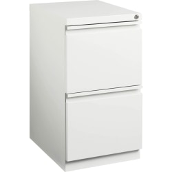 "Lorell® 20""D Vertical 2-Drawer Mobile File Pedestal Cabinet, Metal, White"
