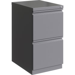 "Lorell® 20""D Vertical 2-Drawer Mobile File Pedestal Cabinet, Metal, Silver"