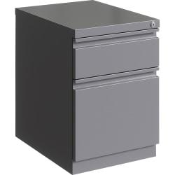 "Lorell® 20""D Vertical 2-Drawer Mobile Box/File Pedestal Cabinet, Metal, Silver"