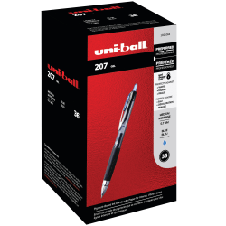 uni-ball® 207 Retractable Fraud Prevention Gel Pens, Medium Point, 0.7 mm, Black Barrel, Blue Ink, Pack Of 36