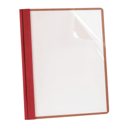 Earthwise® By Oxford™ Clear Front Report Covers With 3-Prong Fasteners, Red, Box Of 25