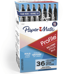Paper Mate® Profile™ Retractable Ballpoint Pens, Bold Point, 1.4mm, Translucent Black Barrel, Black Ink, Pack Of 36