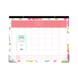 """Day Designer® for Blue Sky™ Academic Monthly Desk Calendar, 22"""" x 17"""", Peyton White, July 2020 to June 2021, 107938-A"""