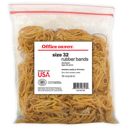 "Office Depot® Brand Rubber Bands, #32, 3"" x 1/8"", Crepe, 1-Lb Bag"