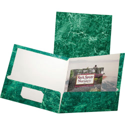 Oxford® Marble Twin-Pocket Portfolios, Emerald Green, Box Of 25