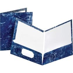 Oxford® Marble Twin-Pocket Portfolios, Navy, Box Of 25
