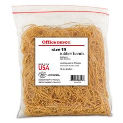 "Office Depot® Brand Rubber Bands, #19, 3 1/2"" x 1/16"", Crepe, 1-Lb Bag"