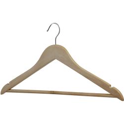 Lorell Wooden Coat Hanger - for Coat, Clothes, Garment - Wooden, Metal - Natural - 30 / Carton