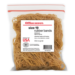 "Office Depot® Brand Rubber Bands, #19, 3 1/2"" x 1/16"", 1/4 Lb. Bag"