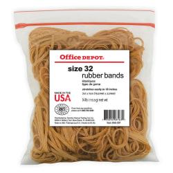 """Office Depot® Brand Rubber Bands, #32, 3"""" x 1/8"""", 1/4 Lb. Bag"""
