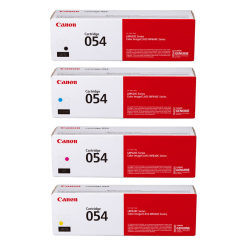 Canon Genuine 054 Complete 4-Color Toner Cartridges, Black/Yellow/Cyan/Magenta, Pack Of 4 Cartridges