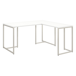 """kathy ireland® Office by Bush Business Furniture Method 60""""W L Shaped Desk with 30""""W Return, White, Standard Delivery"""