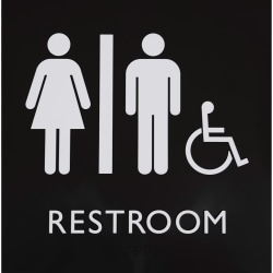 """Lorell Restroom Sign - 1 Each - 8"""" Width x 8"""" Height - Square Shape - Easy Readability, Injection-molded - Plastic - Black"""