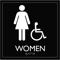 "Lorell Restroom Sign - 1 Each - Women Print/Message - 8"" Width x 8"" Height - Easy Readability, Injection-molded - Black"