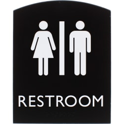 "Lorell Restroom Sign - 1 Each - 6.8"" Width x 0.8"" Height - Rectangular Shape - Easy Readability, Braille - Plastic - Black"