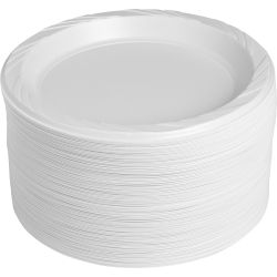 "Genuine Joe Reusable Plastic White Plates - 125 / Pack - 9"" Diameter Plate - Plastic - Serving - Disposable - White - 500 Piece(s) / Carton"