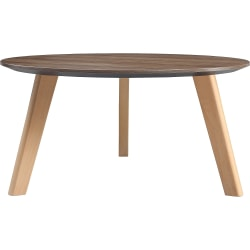 """Lorell Relevance Walnut Round Coffee Table - 15.8"""" x 32"""" - Knife Edge - Material: Natural Wood Leg - Finish: Walnut Laminate Table Top"""