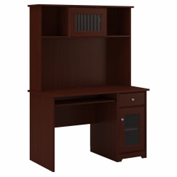 """Bush Furniture Cabot 48""""W Small Computer Desk With Hutch And Keyboard Tray, Harvest Cherry, Standard Delivery"""