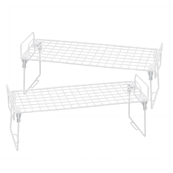 "Honey-Can-Do Lock And Link Kitchen Organizer Racks, 7 1/4""H x 18""W x 7 1/8""D, White, Set Of 2"