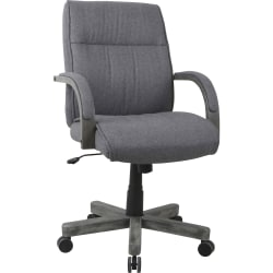 "Lorell Gray Fabric High-Back Executive Chair - Fabric Gray, Wood Seat - Fabric Gray, Wood Back - 5-star Base - 24.5"" Width x 27.6"" Depth x 40.5"" Height"