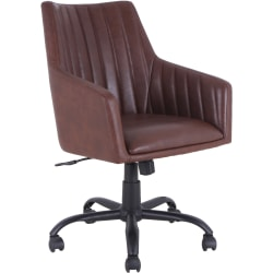 Lorell® Bonded Leather Back Stitch Chair, Black