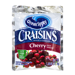 OCEAN SPRAY Craisins Cherry Flavored Dried Cranberries, 1.16 oz, 200 Count