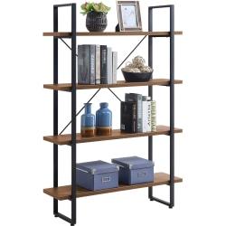 "Lorell SOHO 4-Shelf Metal Frame Bookcase - 29"" x 11.8"" x 57.5"" - 4 Shelve(s) - Band Edge - Material: Melamine Shelf, Steel Frame, Polyvinyl Chloride (PVC) Edge - Finish: Walnut, Powder Coated Frame"