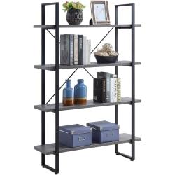 "Lorell SOHO 4-Shelf Metal Frame Bookcase - 29"" x 11.8"" x 57.5"" - 4 Shelve(s) - Band Edge - Material: Melamine Shelf, Steel Frame, Polyvinyl Chloride (PVC) Edge - Finish: Charcoal, Powder Coated Frame"