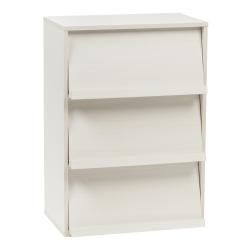 IRIS Wood Shelf With Pocket Doors, 3-Tier, White