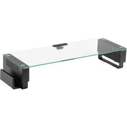 "Lorell Single Shelf USB Glass Monitor Stand - 1 x Shelf(ves) - 24.1"" Width x 8.3"" Depth - Desktop - Glass - Black"