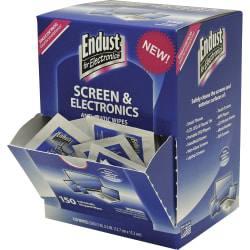 Endust Screen/Electronics Clean Wipes - For Smartphone, Handheld Device, Notebook, LCD, GPS Navigation System, Display Screen - Anti-static, Alcohol-free, Ammonia-free, Soft, Non-abrasive - 150 / Pack - Blue