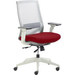 True Commercial Pescara Mesh/Fabric Mid-Back Executive Chair, Red/Off-White