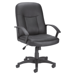 Lorell® Manager Ergonomic Bonded Leather Mid-Back Chair, Black
