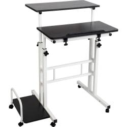 "Mind Reader 27""W Mobile Sitting/Standing Desk, Black/White"
