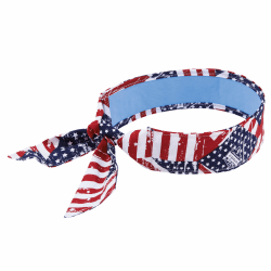 Ergodyne Chill-Its 6700CT Evaporative Cooling Tie Bandanas With Cooling Towel, Stars & Stripes, Pack Of 6 Bandanas