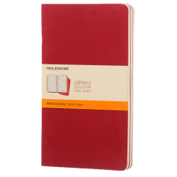 """Moleskine Cahier Journals, 5"""" x 8-1/4"""", Ruled, 80 Pages (40 Sheets), Cranberry Red, Set Of 3 Journals"""