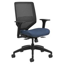 HON® Solve Fabric Mid-Back Task Chair, Ilira-Stretch Mesh Back, Midnight/Black