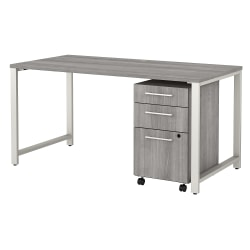 """Bush Business Furniture 400 Series 60""""W x 30""""D Table Desk With 3-Drawer Mobile File Cabinet, Platinum Gray, Standard Delivery"""