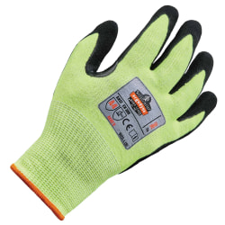 Ergodyne ProFlex 7041 Hi-Vis Nitrile-Coated Level 4 Cut-Resistant Gloves, Large, Lime