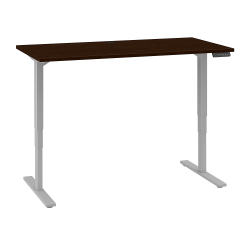 """Bush Business Furniture Move 80 Series 60""""W x 30""""D Height Adjustable Standing Desk, Mocha Cherry/Cool Gray Metallic, Standard Delivery"""
