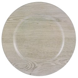 "Amscan Printed Plastic Charger Plates, 13"", Wood, Set Of 2 Plates"