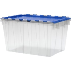 """Akro Mils Keep Storage Box Container With Lid, 21 1/2"""" x 15"""" x 12 1/2"""", Clear/Blue"""