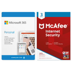 Microsoft 365 Personal - McAfee Internet Security 3 Device (Download Version)