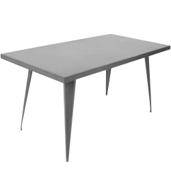 Lumisource Austin Industrial Dining Table, Rectangular, Matte Gray