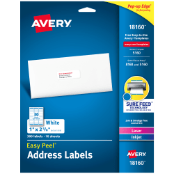 "Avery® Easy Peel® Permanent Inkjet/Laser Address Labels, 18160, 1"" x 2 5/8"", White, Pack Of 300"