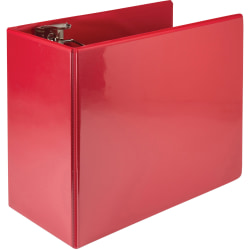 """Samsill® Nonstick Locking View 3-Ring Binder, 6"""" Round Rings, Red"""