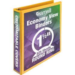 "Samsill® Economy View 3-Ring Binder, 1"" Round Rings, Yellow"